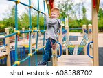 little boy playing on the... | Shutterstock . vector #608588702