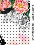 watercolor and sketch peonies... | Shutterstock . vector #608593046