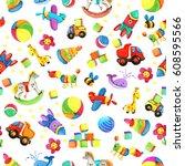 cartoon toy seamless pattern.... | Shutterstock . vector #608595566