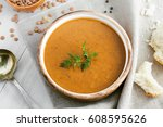 soup made of lentil and... | Shutterstock . vector #608595626