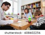 parents working a breakfast...   Shutterstock . vector #608602256