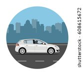 car on the road over city... | Shutterstock .eps vector #608615672