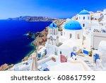 santorini  greece. blue dome... | Shutterstock . vector #608617592