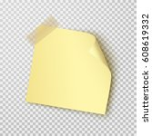 office paper sheet or sticker... | Shutterstock .eps vector #608619332