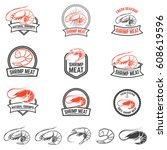 set of the shrimps meat labels...   Shutterstock .eps vector #608619596