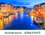 venice  italy. grand canal from ... | Shutterstock . vector #608619695