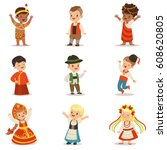kids wearing national costumes... | Shutterstock .eps vector #608620805