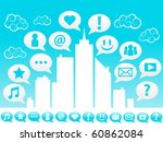 cityscape and social icons. | Shutterstock .eps vector #60862084