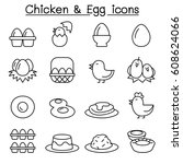 chicken   egg icon set in thin...