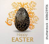 happy easter  greeting card  | Shutterstock .eps vector #608625956