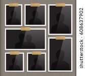 vector page of photo album.... | Shutterstock .eps vector #608637902