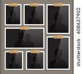 vector page of photo album.... | Shutterstock .eps vector #608637902