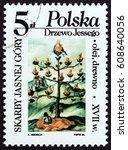 poland   circa 1986  a stamp... | Shutterstock . vector #608640056