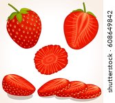 set of vector strawberry. whole ... | Shutterstock .eps vector #608649842
