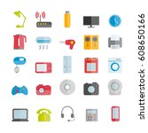 collection of vector flat... | Shutterstock .eps vector #608650166