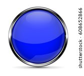 blue round glass button with... | Shutterstock .eps vector #608652866