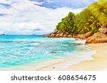 tropical beach. the seychelles. ... | Shutterstock . vector #608654675