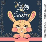 cute colorful vector easter... | Shutterstock .eps vector #608656862