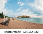 island of sveti stefan  close... | Shutterstock . vector #608665232