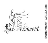 live music concert black and... | Shutterstock .eps vector #608665388