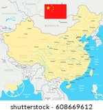 china map and flag   highly... | Shutterstock .eps vector #608669612