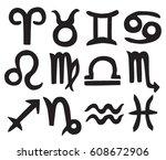 zodiac signs | Shutterstock .eps vector #608672906