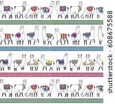 lama animal vector pattern | Shutterstock .eps vector #608675588