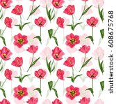 elegant seamless pattern with... | Shutterstock . vector #608675768