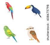 birds vector icons | Shutterstock .eps vector #608675798