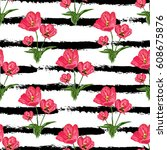 elegant seamless pattern with... | Shutterstock . vector #608675876