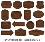 wooden stickers  label... | Shutterstock .eps vector #608680778