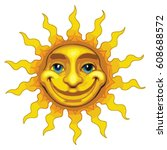 sun smiling is an illustration... | Shutterstock .eps vector #608688572