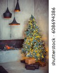 beautiful holiday decorated... | Shutterstock . vector #608694386