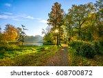 autumn park road sunlight... | Shutterstock . vector #608700872