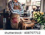 redhead bearded craft coffee... | Shutterstock . vector #608707712