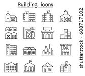 building icon set in thin line... | Shutterstock .eps vector #608717102