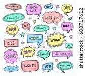 hand drawn set of speech... | Shutterstock .eps vector #608717612