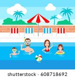 happy family in swimming pool ... | Shutterstock .eps vector #608718692