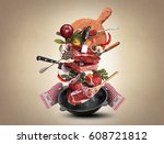 meat and beef meatballs with... | Shutterstock . vector #608721812