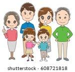 three generations family... | Shutterstock .eps vector #608721818