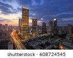 aerial view of shanghai... | Shutterstock . vector #608724545