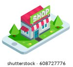 mobile shopping isometric... | Shutterstock .eps vector #608727776