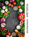 big set organic food. fresh raw ... | Shutterstock . vector #608728526