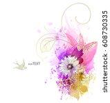 watercolor vector background... | Shutterstock .eps vector #608730335