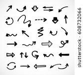 hand drawn arrows  vector set | Shutterstock .eps vector #608732066
