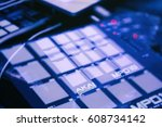Small photo of MOSCOW - 15 NOVEMBER,2016: Akai MPD pad controller for dj on stage.Professional beat maker equipment MPD.Play beats,push pad buttons on live performance