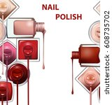 close up of nail polish flow on ... | Shutterstock .eps vector #608735702