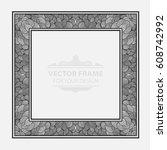 vintage vector set retro frame  ... | Shutterstock .eps vector #608742992