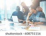 group of attractive... | Shutterstock . vector #608751116
