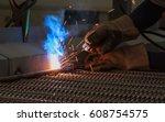arc welding and welding fumes ... | Shutterstock . vector #608754575